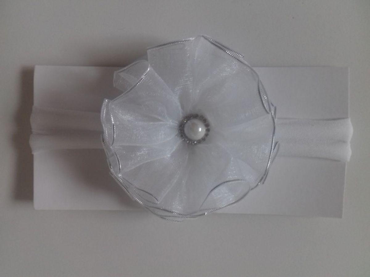 faixa com flor em voal - outros ateliê arte em fita
