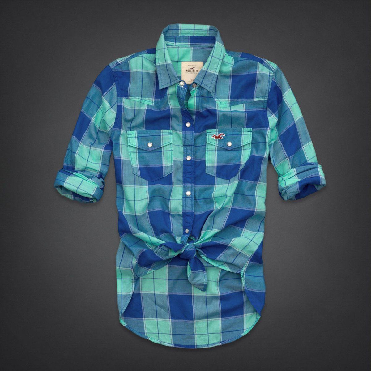 camisa xadrez hollister feminina- azul - camisas hollister co. f6c393ec48b5c
