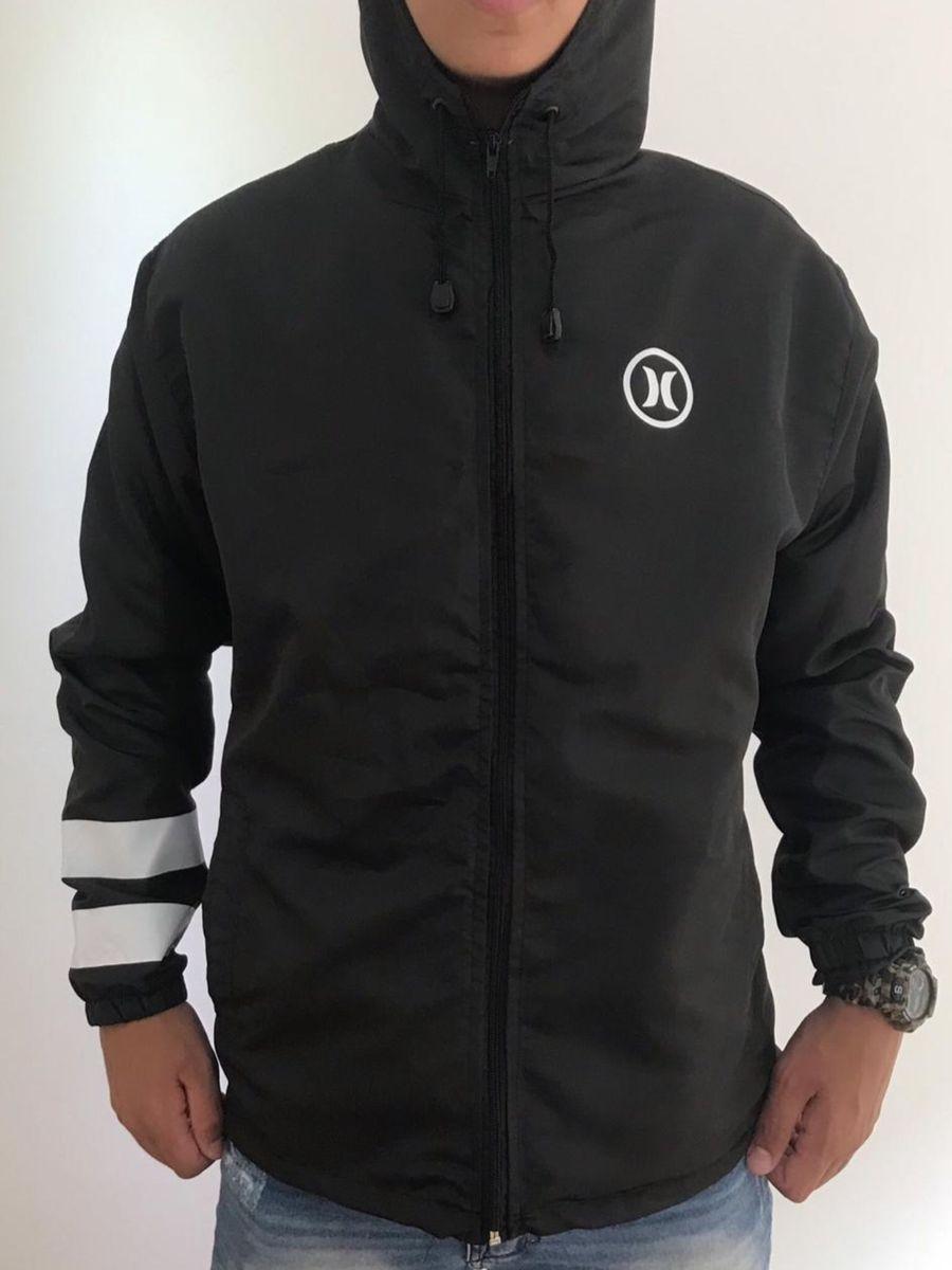 f7852cecd45ff jaqueta corta vento hurley preta - casacos hurley