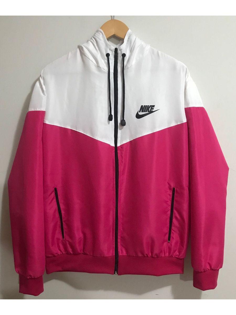 ecd99cfc17 Jaqueta Corta Vento Nike Branco-rosa | Casaco Feminino Nike Nunca ...