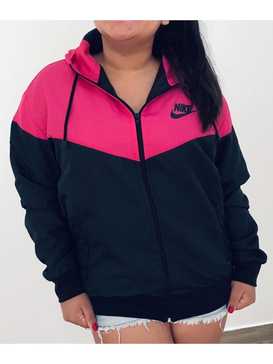 150660a5e7 Jaqueta Corta Vento Rosa e Preto Nike | Casaco Feminino Nike Nunca ...
