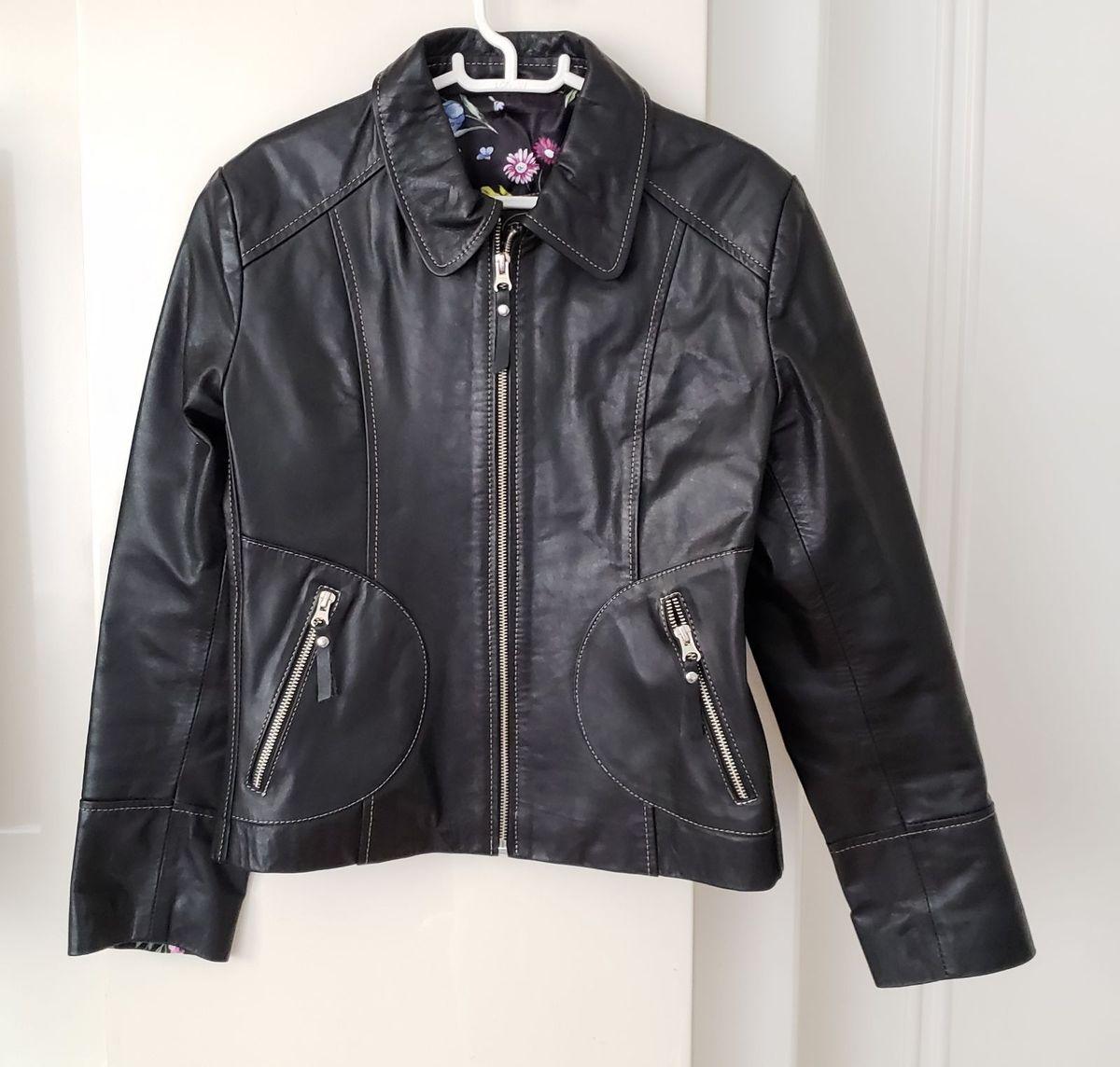 2d5034676 jaqueta couro legítimo argentina preta tamanho g pouco usada veste 40/42 -  casaquinhos rs