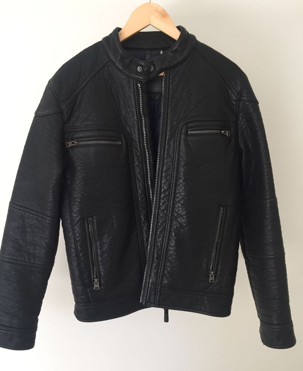 Jaqueta de Couro Calvin Klein Jeans Tamanho Small - P   Casaco ... 41fe6b3d5c