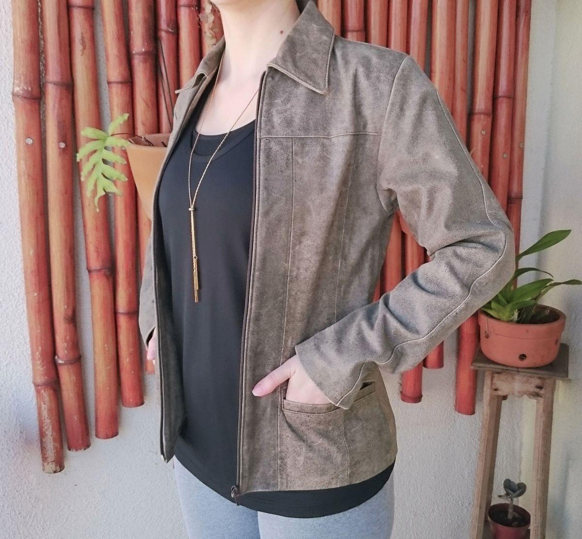 56d6a1907 jaqueta de couro legítimo, feminina, tamanho p - casaquinhos bufalo-couro