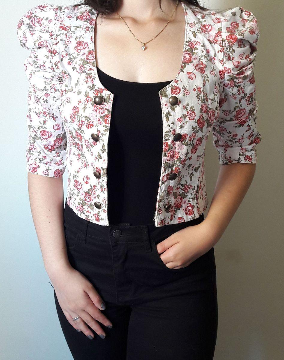 jaqueta jeans cropped - coletes sem marca