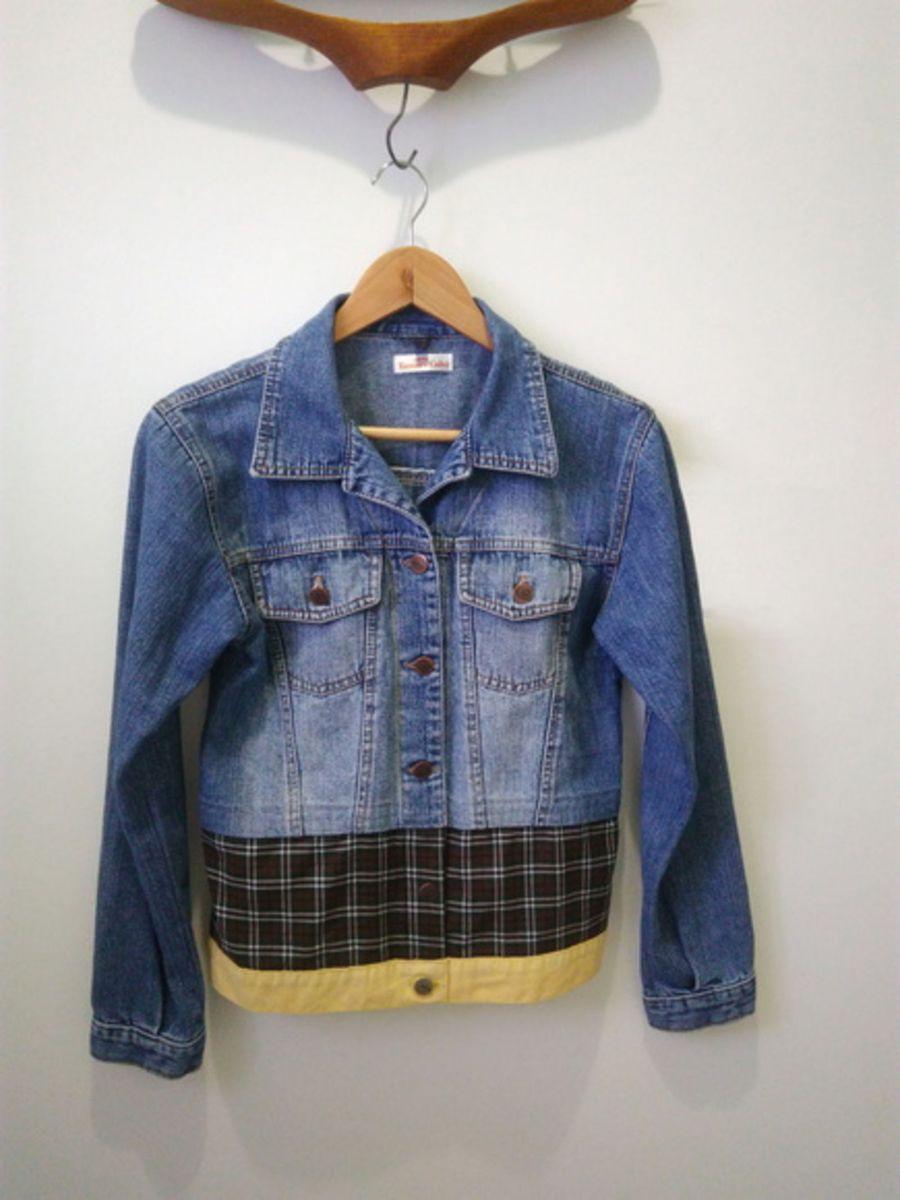 b98db5f0a0 jaqueta jeans customizada com tecido xadrez - casaquinhos tamara calvi  atelier