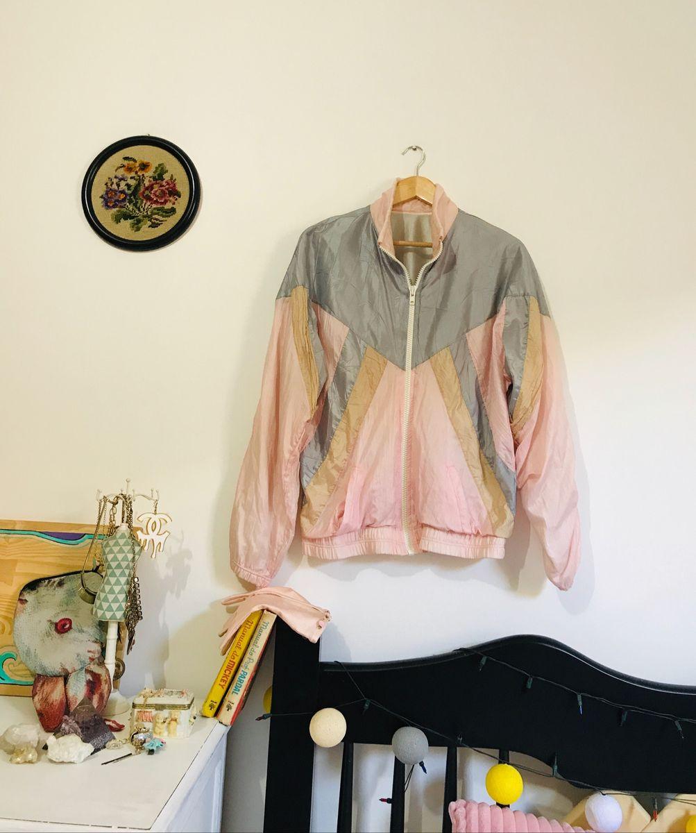 jaqueta nylon vintage anos90 corta vento - casaquinhos vintage