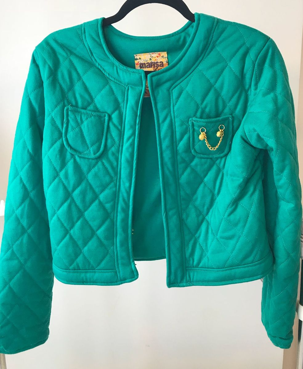 jaqueta verde matelassê - casaquinhos marisa