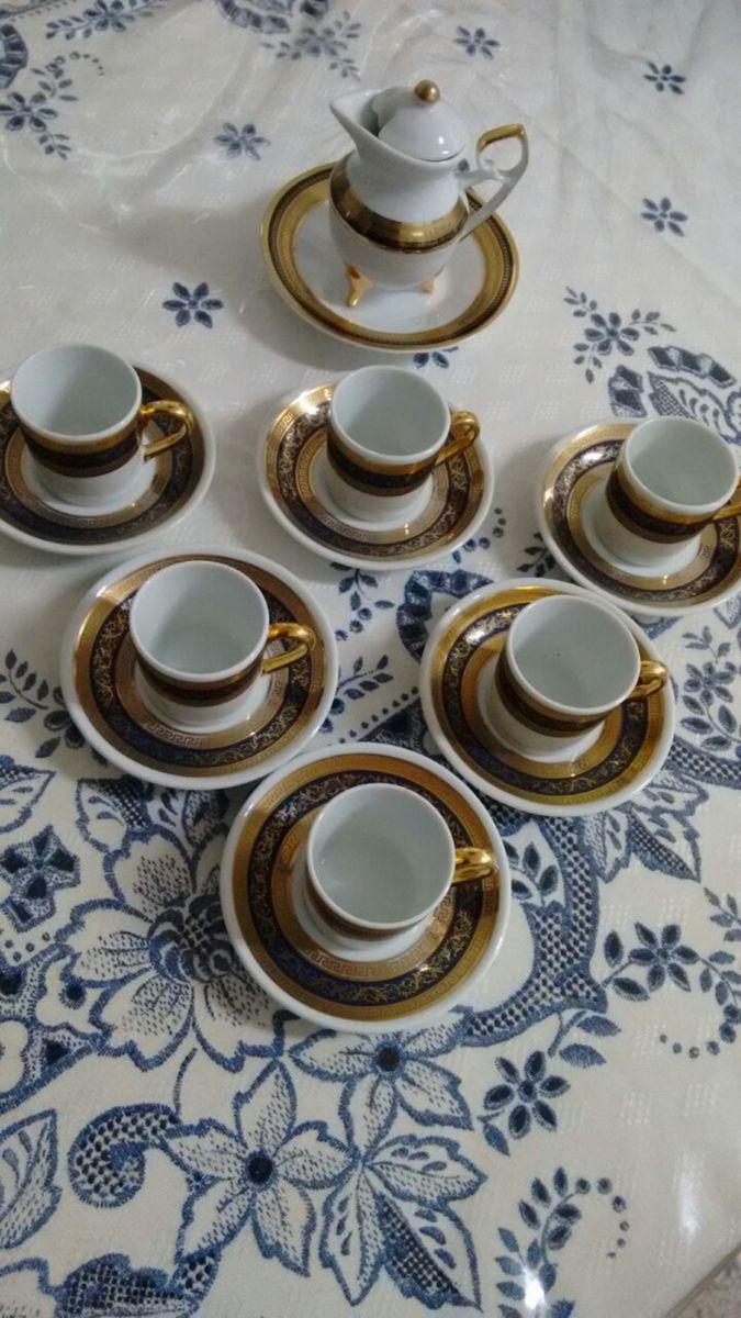 jogo com 6 xícaras para café folhado a ouro - cozinha dp-hanocrafted