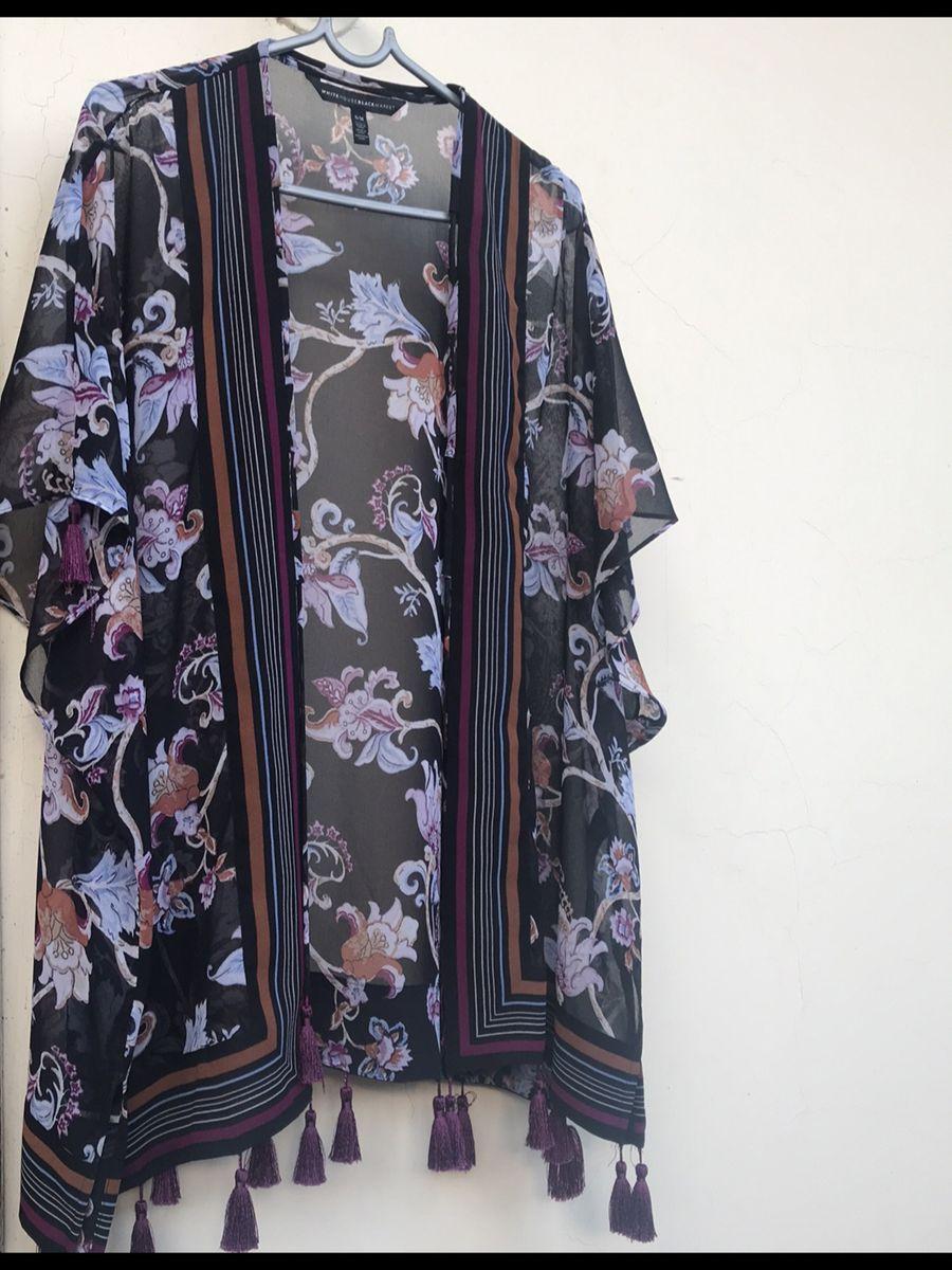 kimono com penduricalho - casaquinhos white-black