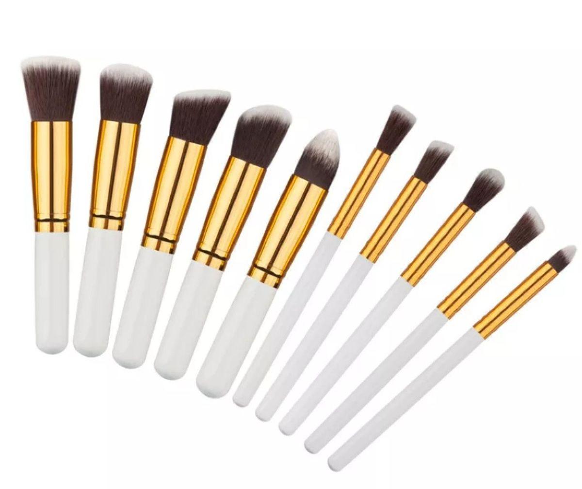 kit 10 pincéis de maquiagem macios - maquiagem importado