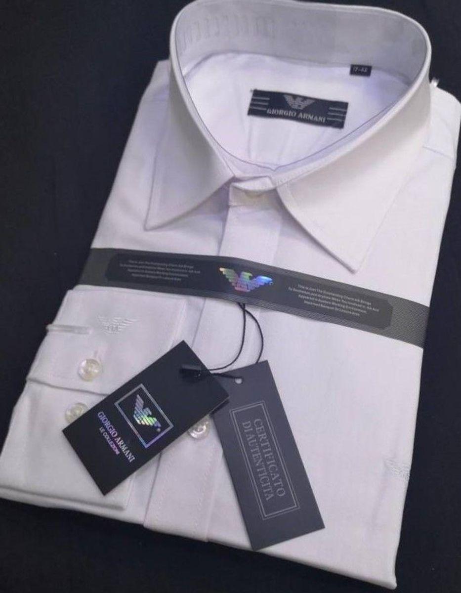 aba25830d18 kit 2 camisas social 1 armani + 1 louis vuitton masculino manga longa slim  fit tamanho
