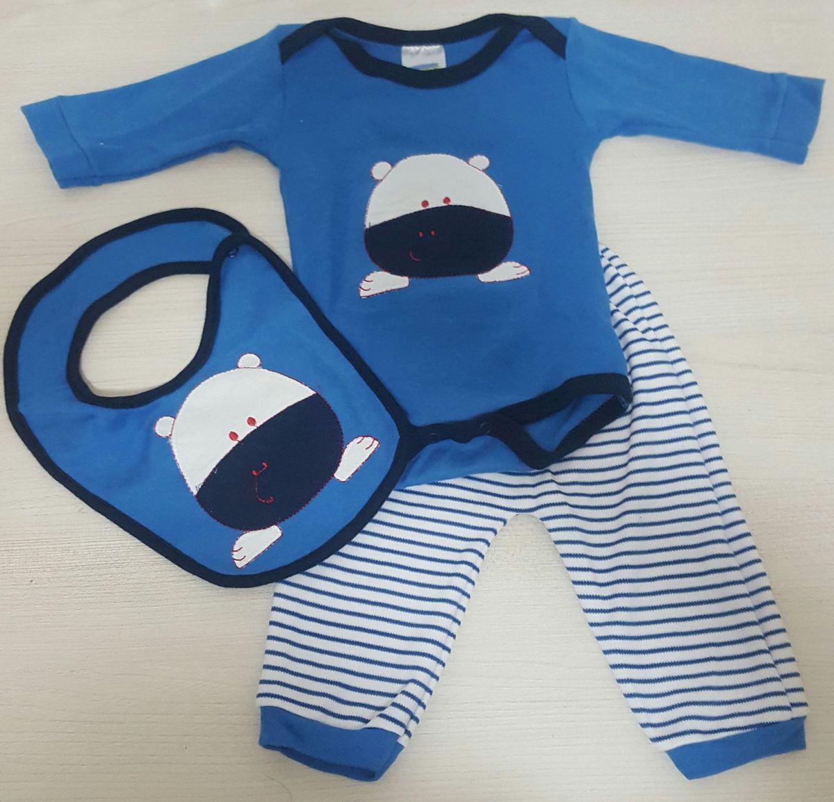 kit 3 peças ( body/calça/babador) - bebê feroz baby