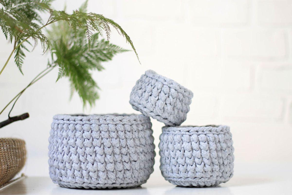 kit cesto de crochê - decoração saika handmade