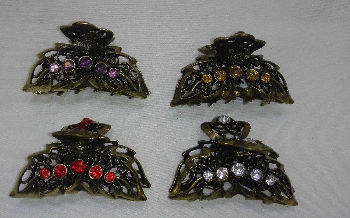 kit com 04 predendor de cabelos - bijoux piranhas para prender cabelos
