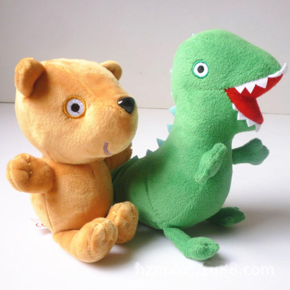 kit com dinossauro do george pig e ursinho teddy da peppa pig - pelúcia ty