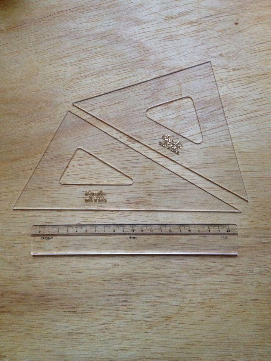 kit esquadros + régua - papelaria trident
