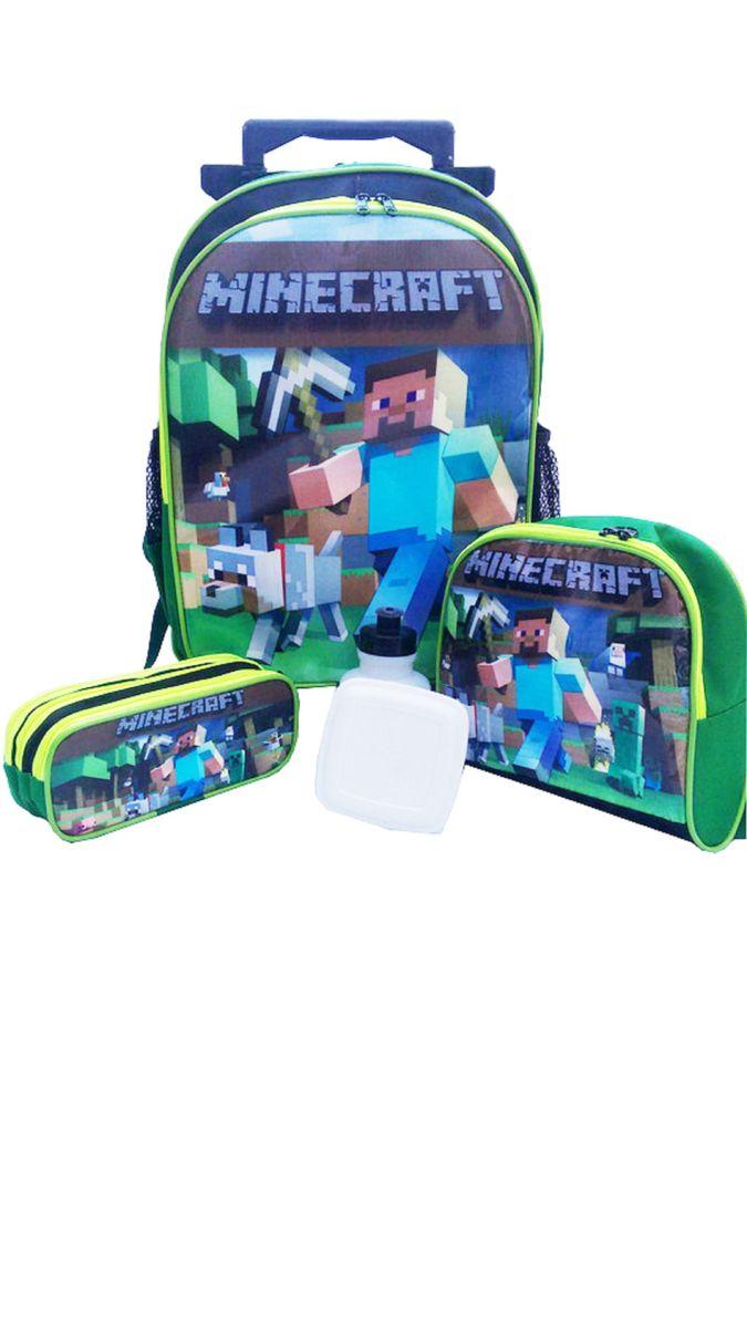 ae3be7360 Kit Mochila Minecraft Tamanho G Pronta Entrega | Item Infantil Nunca ...