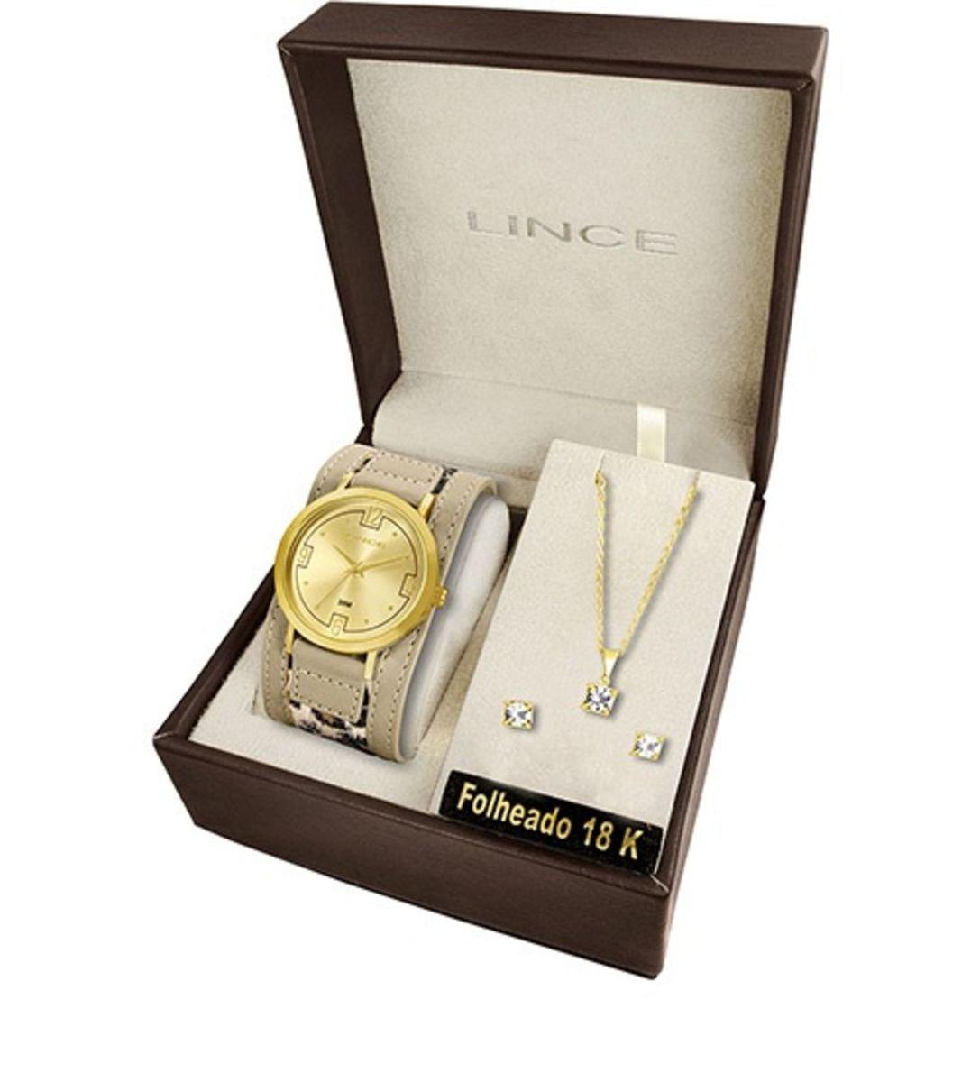 1e062957100 kit relógio feminino lince analógio fashion bege oncinha - relógios lince  oriente