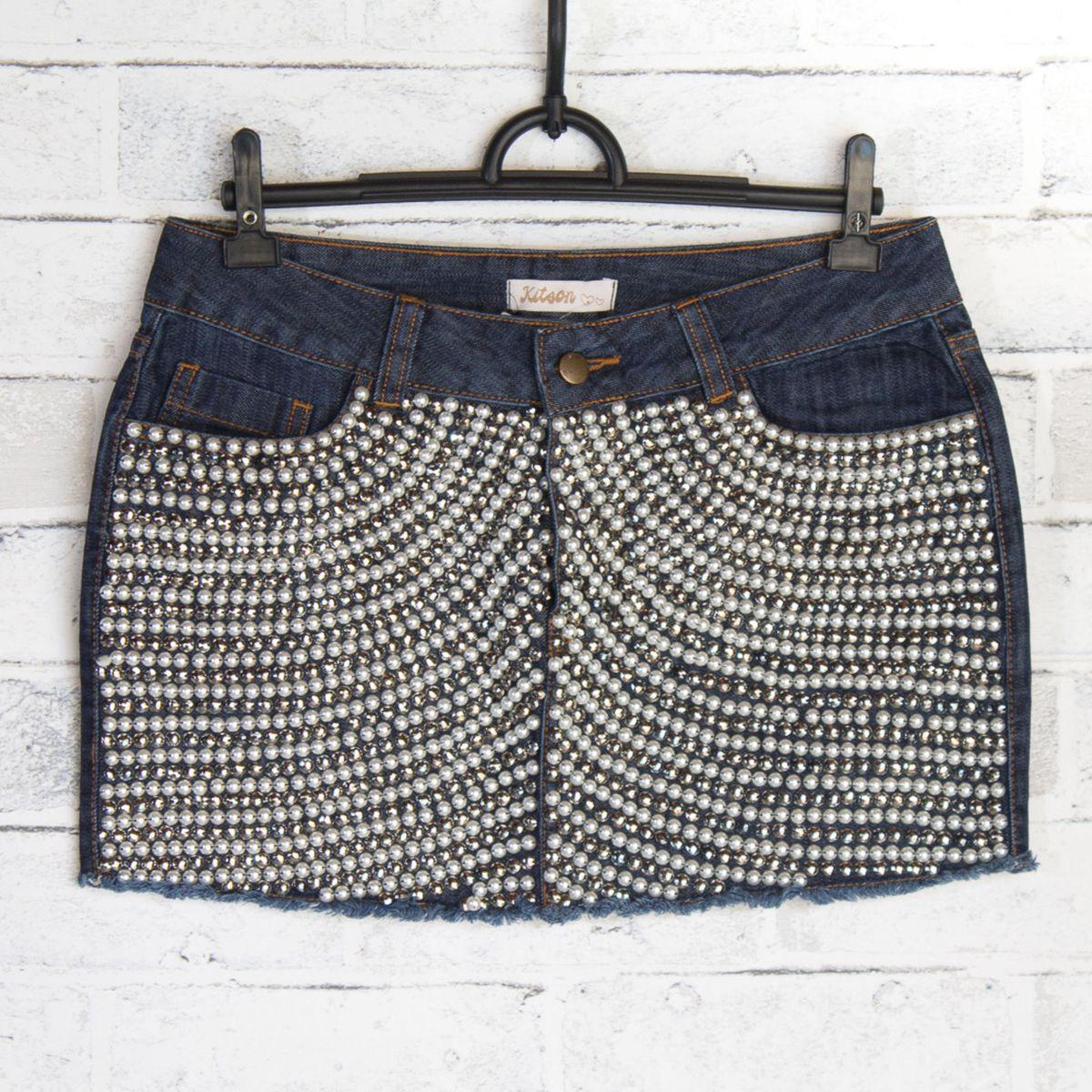 65ce795fb0 Kitson Mini Saia Jeans Pérolas! Nova