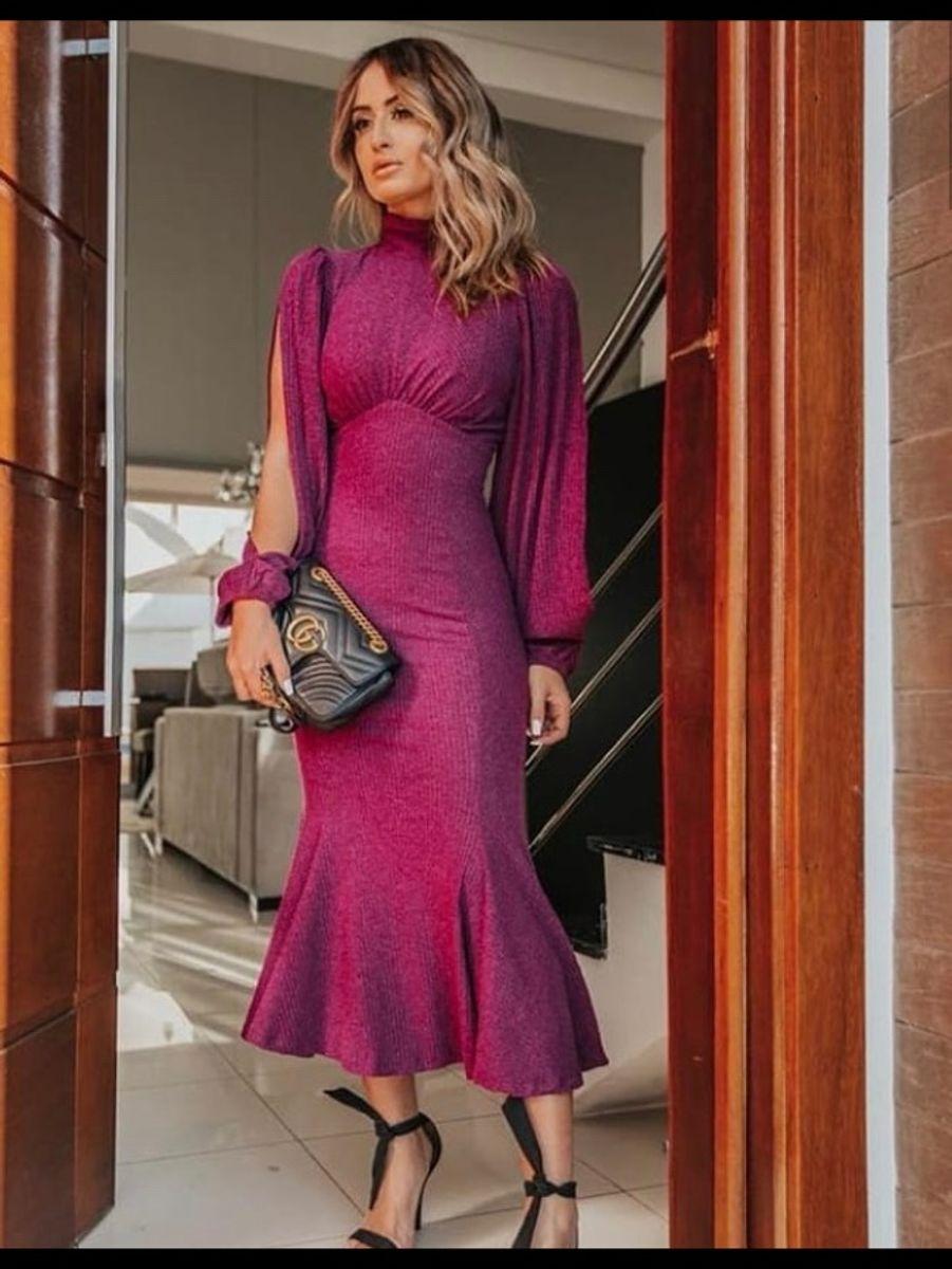 0eafa9d375 lindo vestido longo sereia acinturado malha lurex com elastano - vestidos  importado