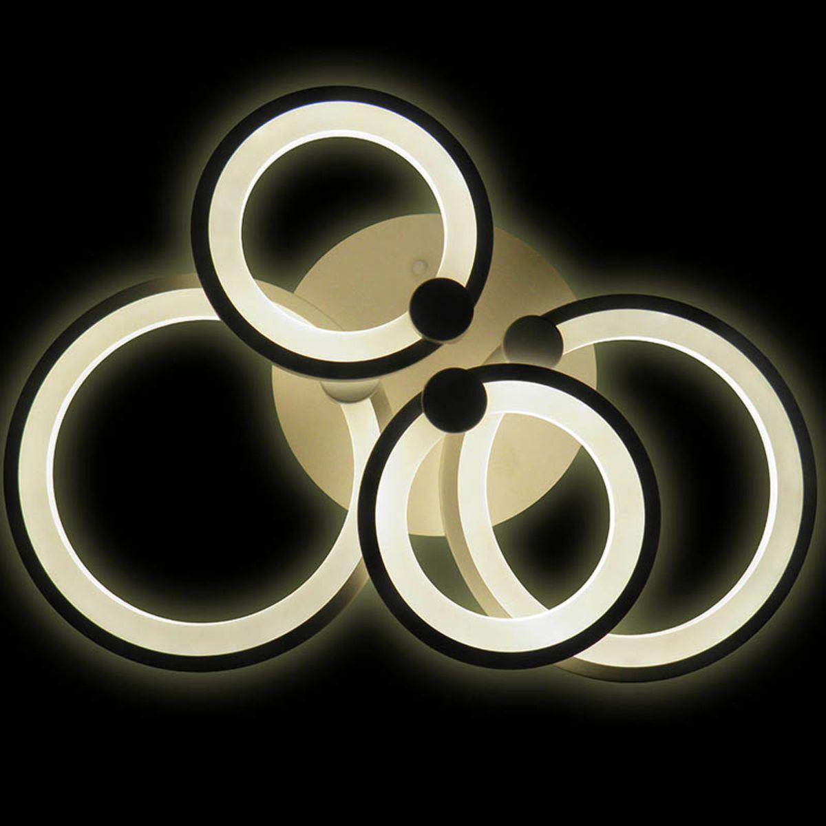 Lumin Ria De Teto Led 3 Cores Aneis Giratorios Lustre Luz Grande