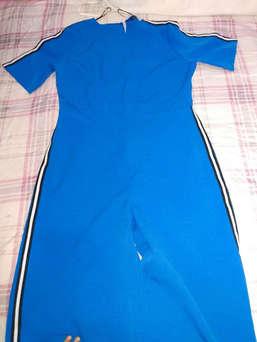 macacão azul com lista lateral - macacão sem marca