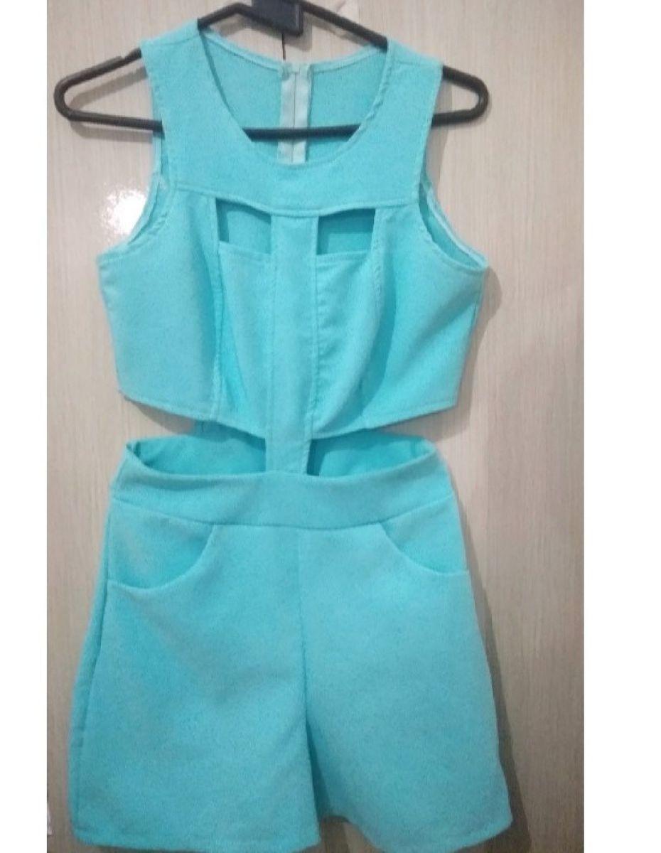 macaquinho azul tiffany - macacão vê fashion