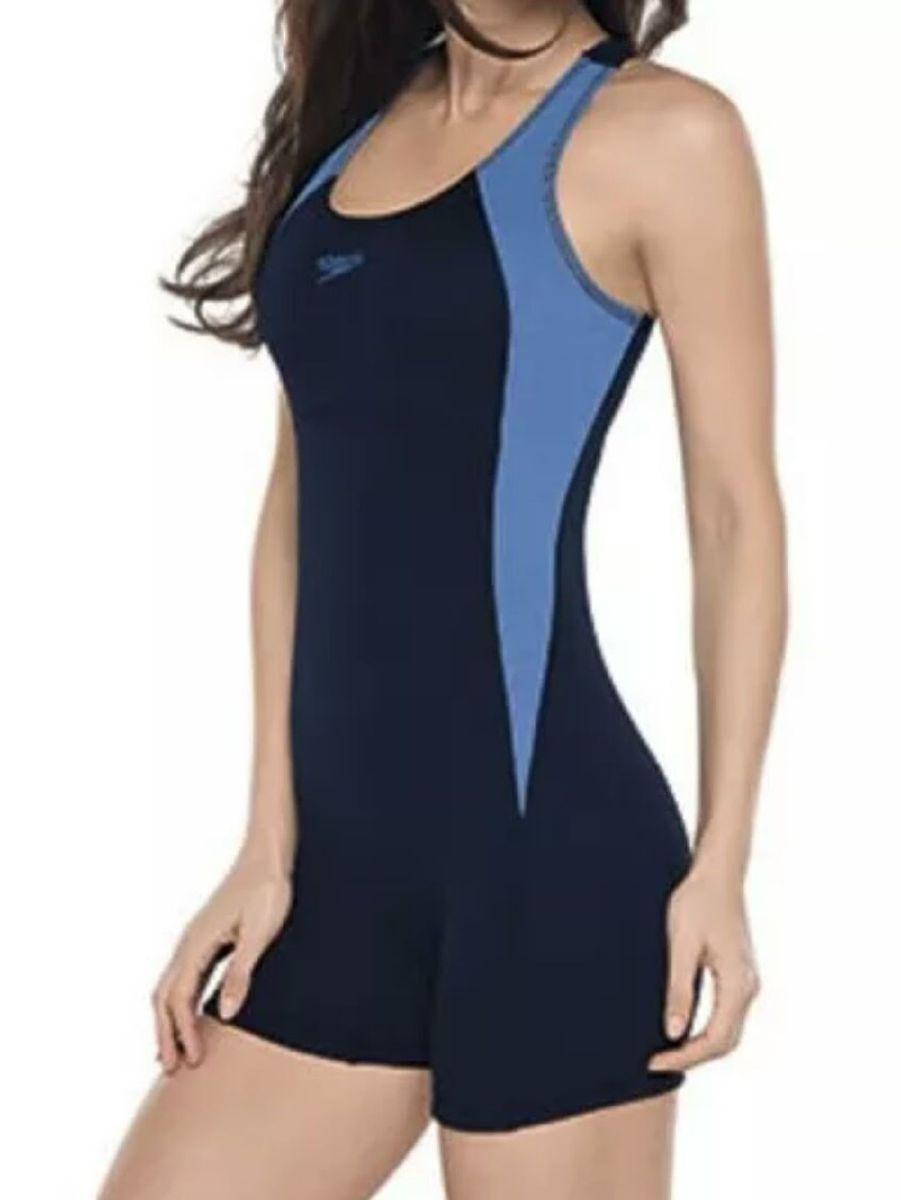 1adca2834 macaquinho de natação speedo preto azul - macacão speedo