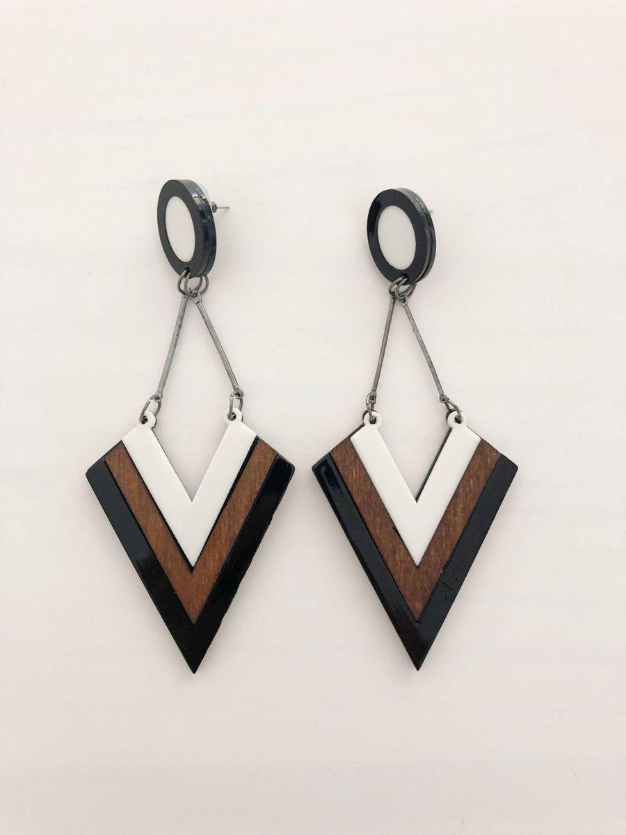 maxi brinco resina madeira - bijoux sem marca