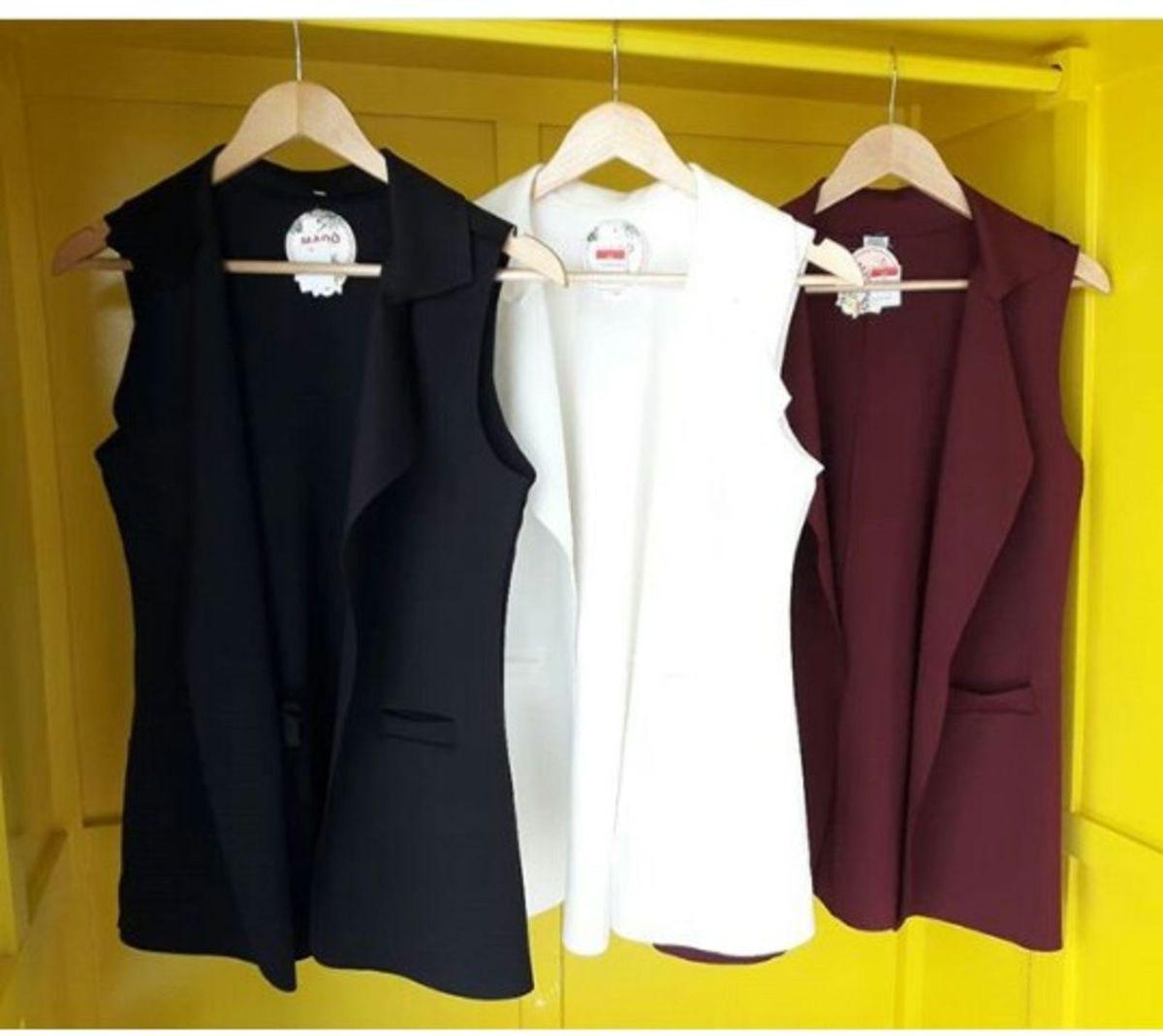 colete longo feminino bolsos recortes - coletes sem-marca