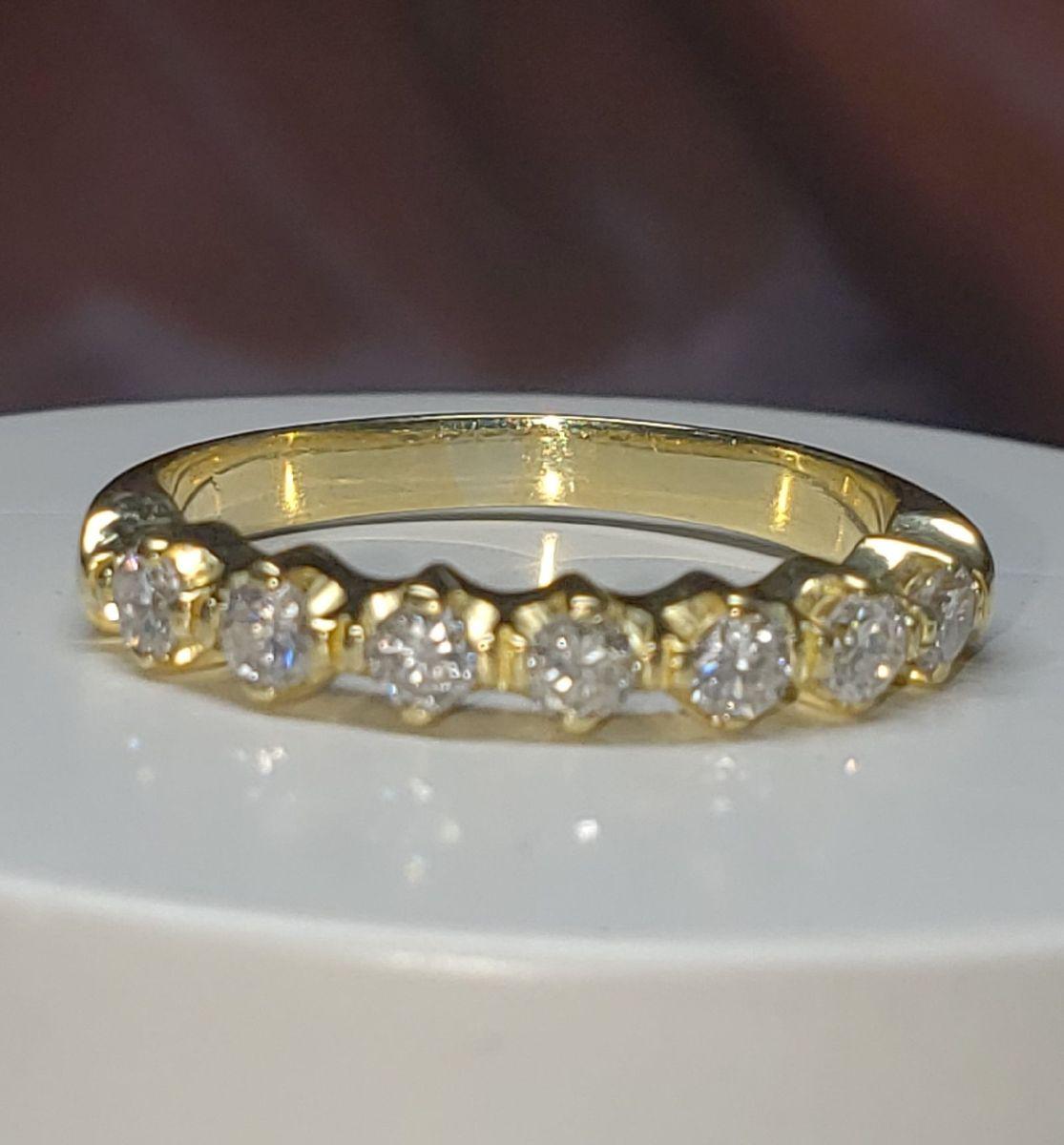 meia aliança ouro 18k750 - jóias sem marca
