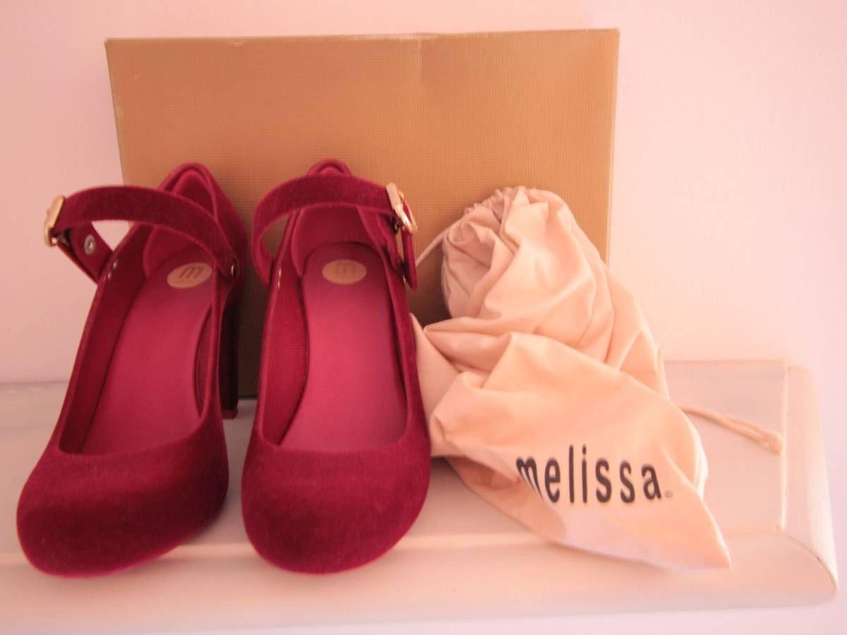 melissa tempetation flocada vermelha salto alto - sapatos melissa