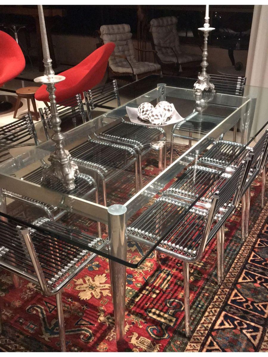 Image of: Mesa De Jantar Em Aco Inox E Vidro 17mm Mesa Usado 29623016 Enjoei