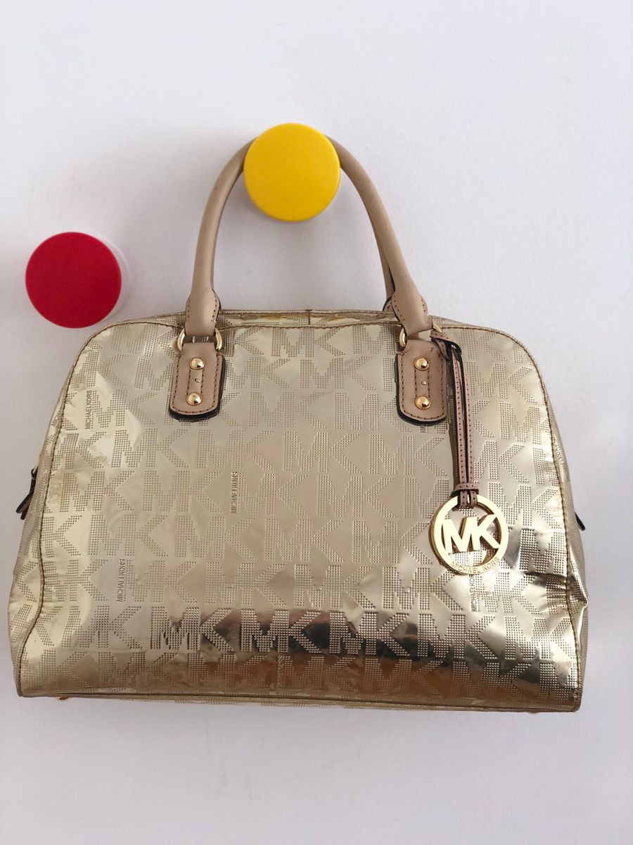 f674a5547 Michael Kors Bolsa de Mao Legitima Dourada   Bolsa de mão Feminina ...