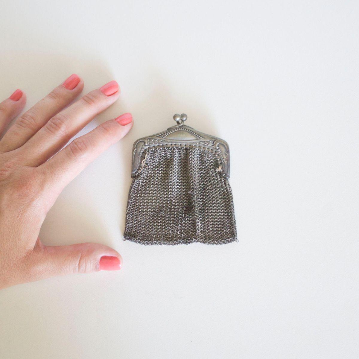 mini bolsa antiga de metal - jóias sem marca