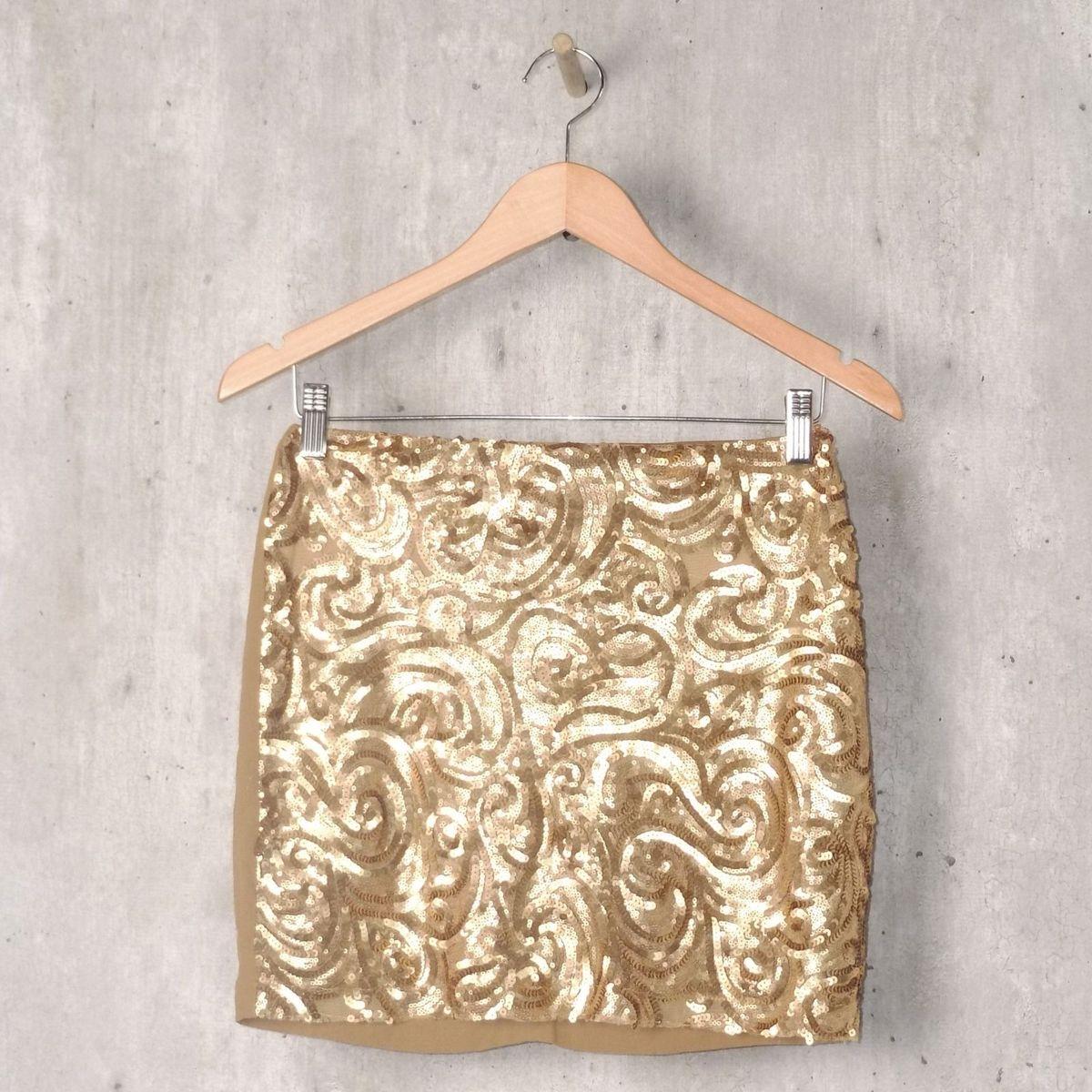 d825c8e9c Mini Saia Dourada com Paetê | Saia Feminina Colcci Usado 30756931 | enjoei