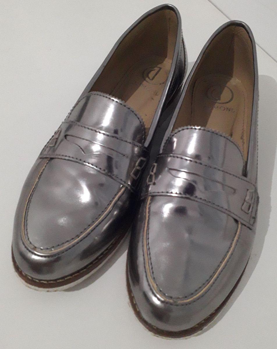 mocassim metalizado - sapatos dumond