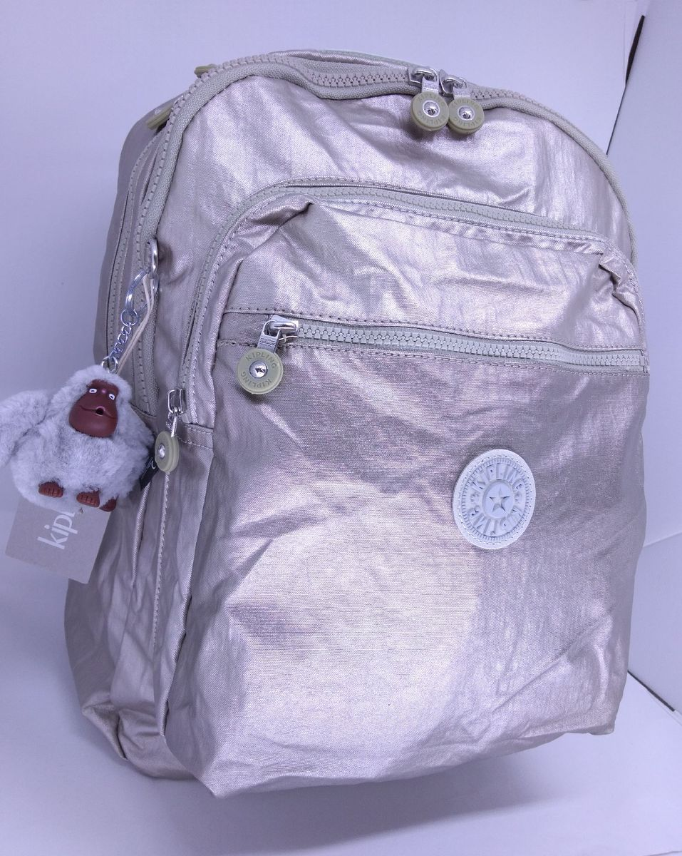 56cf00faa mochila escolar viagem notebook silver metal kipling seoul - mochila kipling