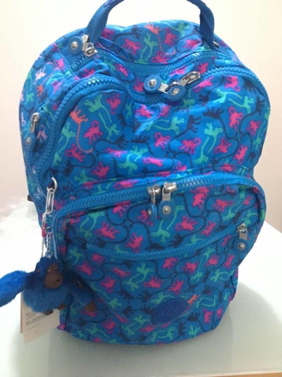 f03e4586e mochila kipling azul estampada class seoul nova com etiqueta - mochila  kipling