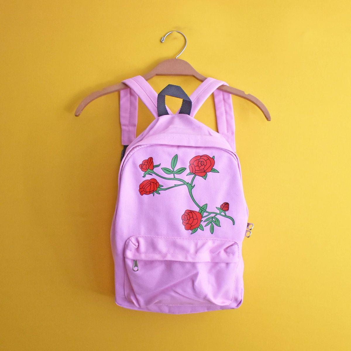 mochila rosas lindas - mochila coisas da dixie