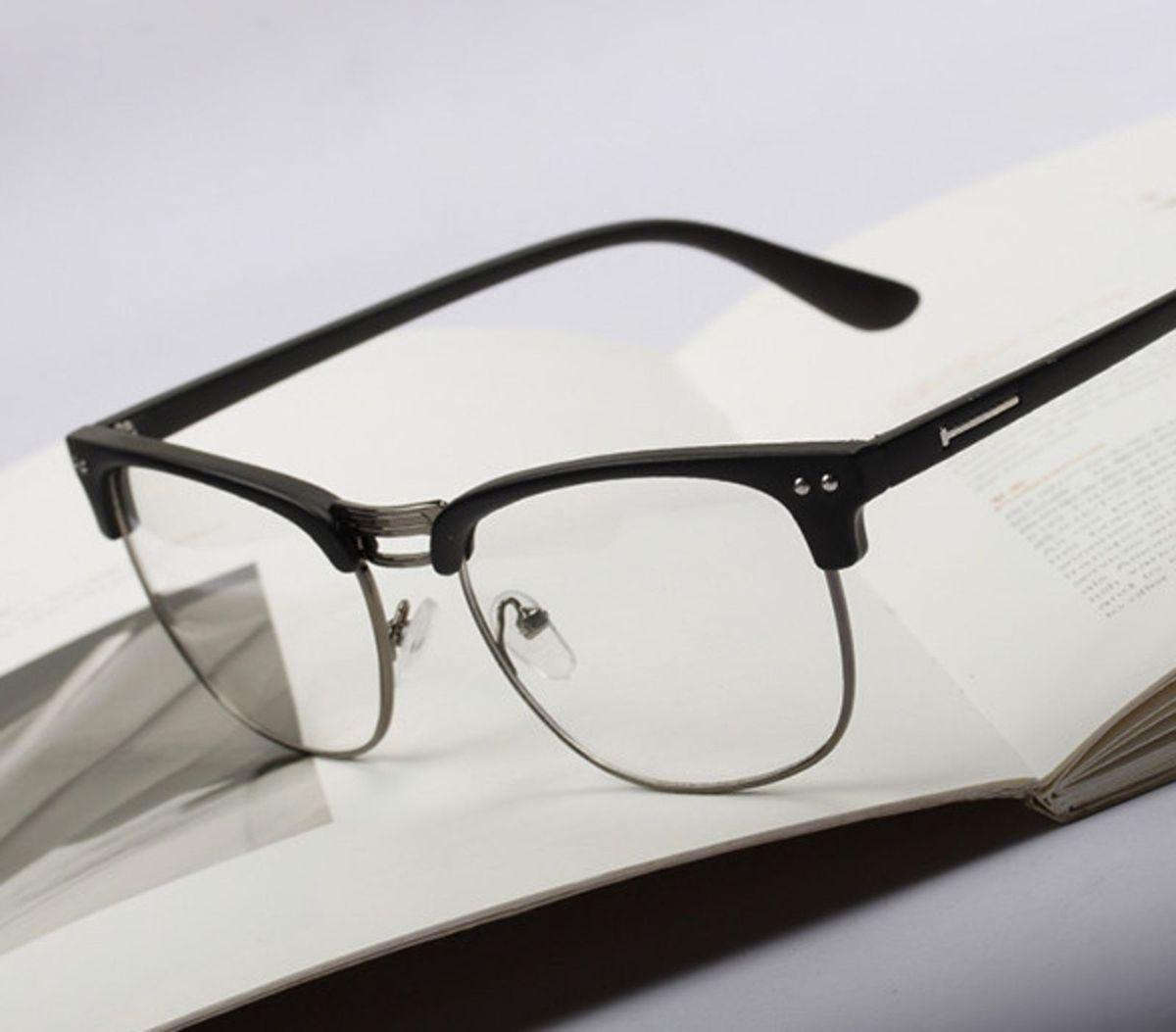 armação óculos estilo nerd vintage quadrado preto com prata - óculos otto  store 89249adce1