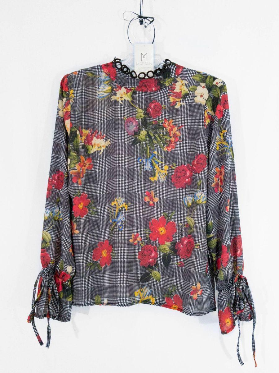 nova! blusa xadrez floral com manga boca de sino - blusas xá doce