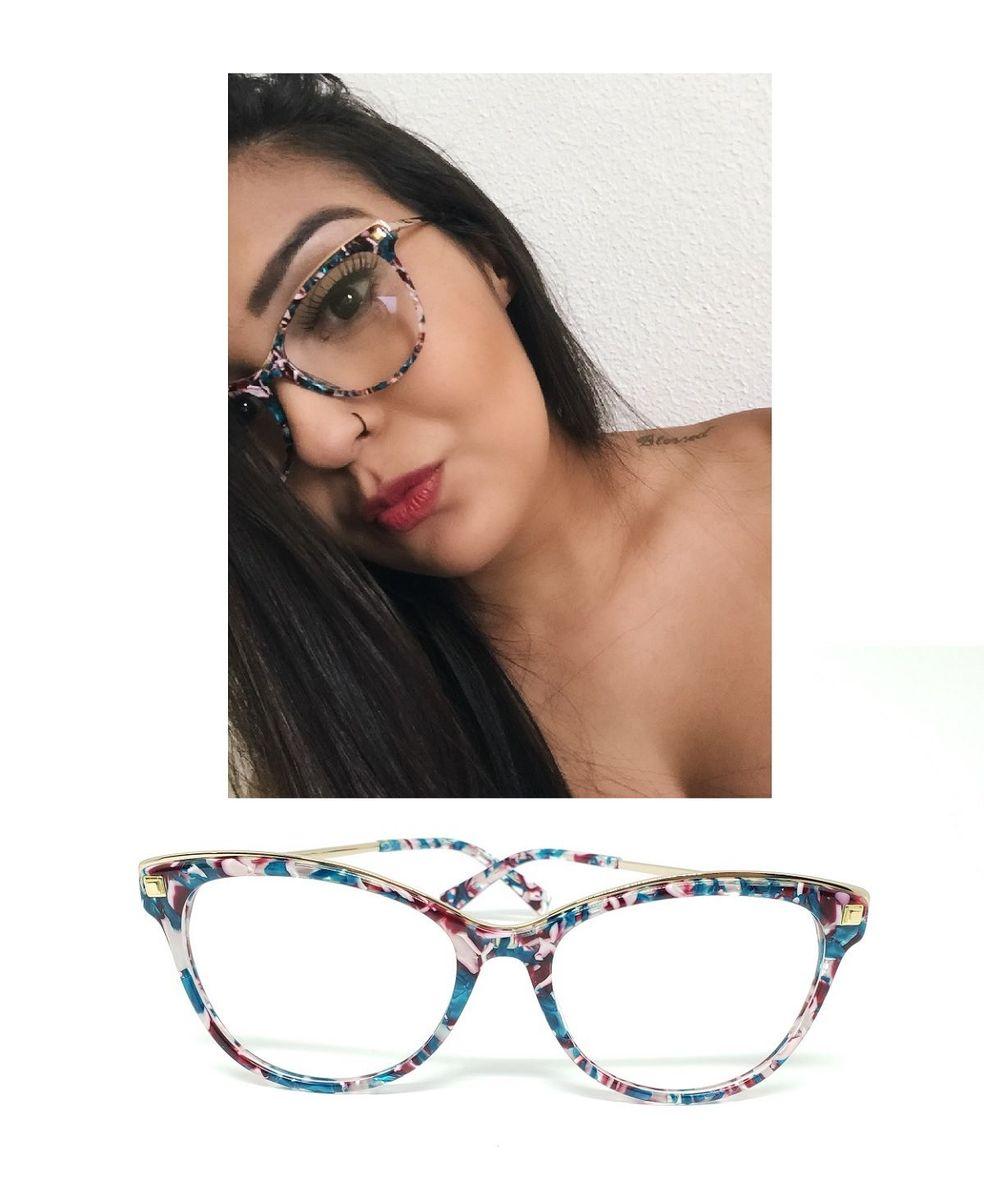 5497b36f8 óculos armação de grau metal gatinho colorido psg-1705-cl - óculos presságio