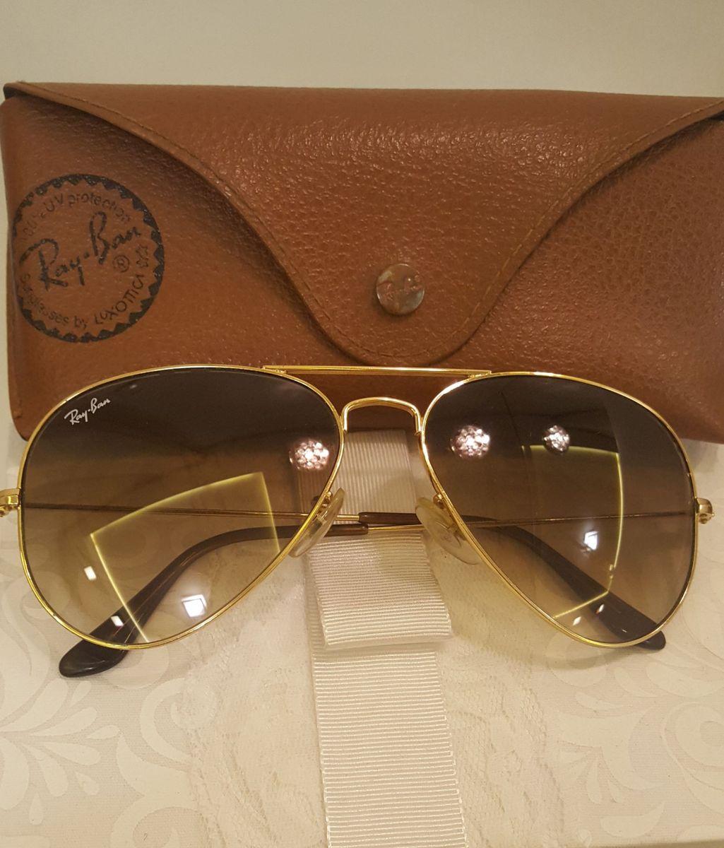 c517b6c59 óculos aviador ray ban degrade original rb3025 marrom com armação dourada -  óculos ray-ban