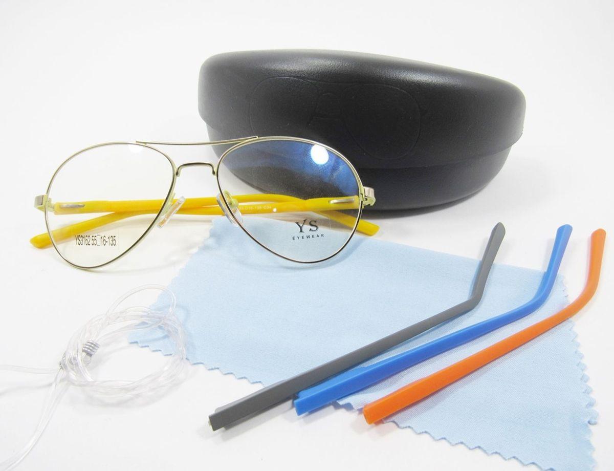 53aeddec0 Óculos Aviador Troca Hastes (interno Amarelo) (novidade) | Óculos ...