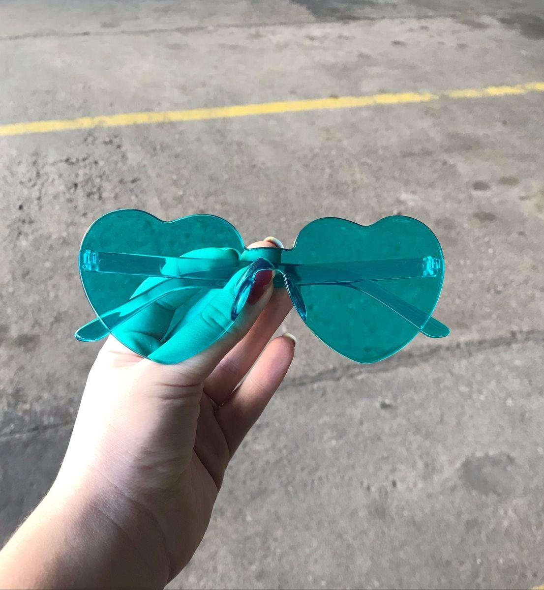 óculos coração verde menta - óculos sem marca