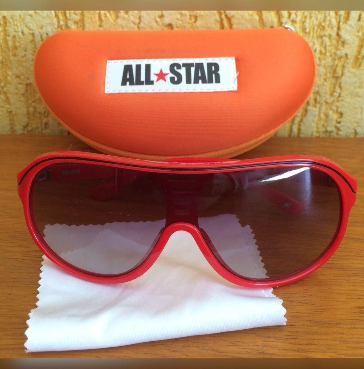 7ef41a76b óculos de sol all star vermelho com preto brilho degradê - novo - óculos  all star