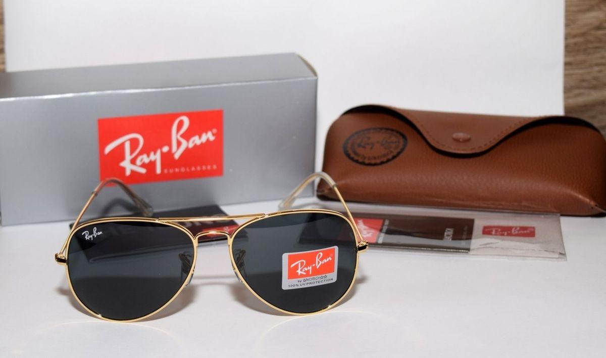 ec6363d651a7a Óculos de Sol Aviador Rb3025 Dourado Lentes Pretas   Óculos Feminino ...