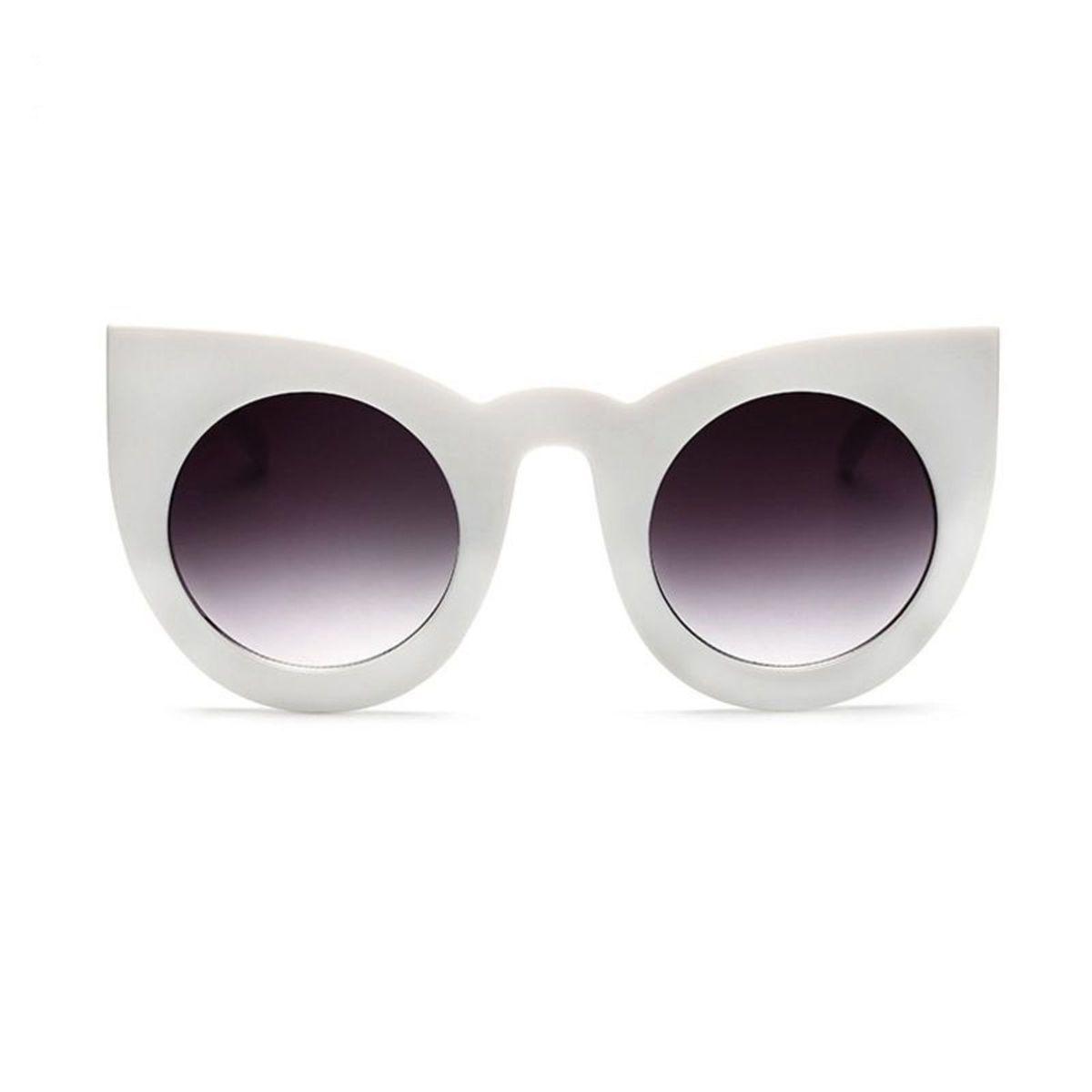 958067c72074e Óculos de Sol de Gatinho - Redondo- Oversized - Branco
